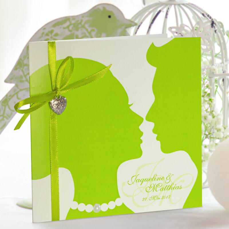 Einladungskarte Hochzeit Lovely Couple Grün