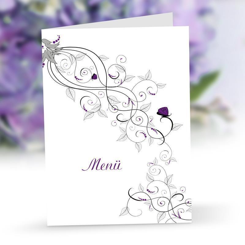 Menükarte Hochzeit Liebesranken
