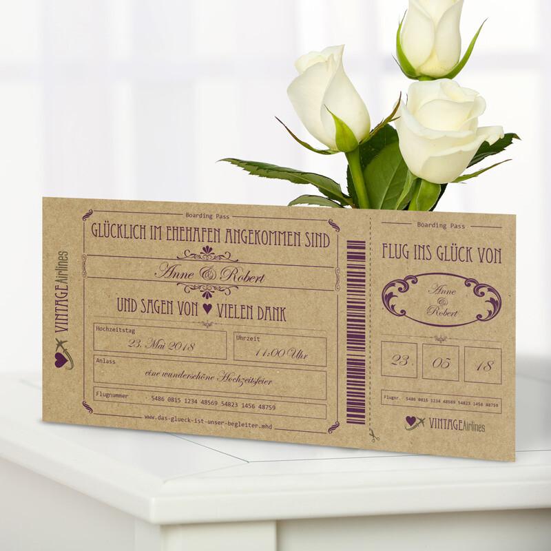Danksagung Hochzeit Vintage Boarding Pass Lila