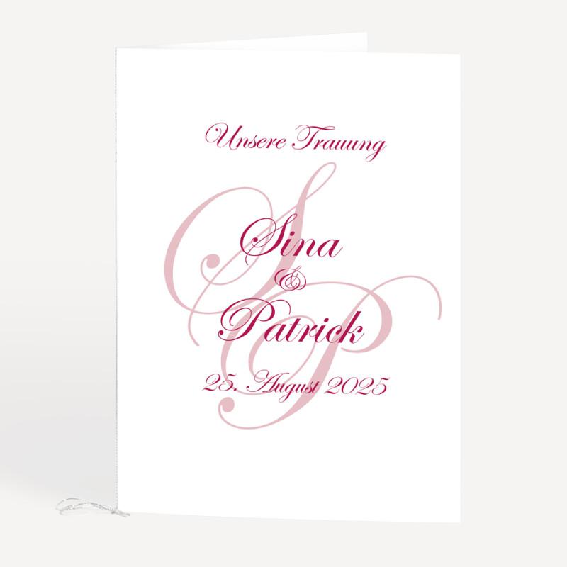 Kirchenheft Hochzeit Initialen Textdruck Inklusive