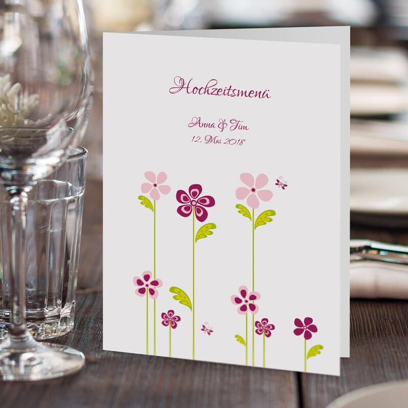 Menükarte Hochzeit Blumenwiese Online Drucken Lassen