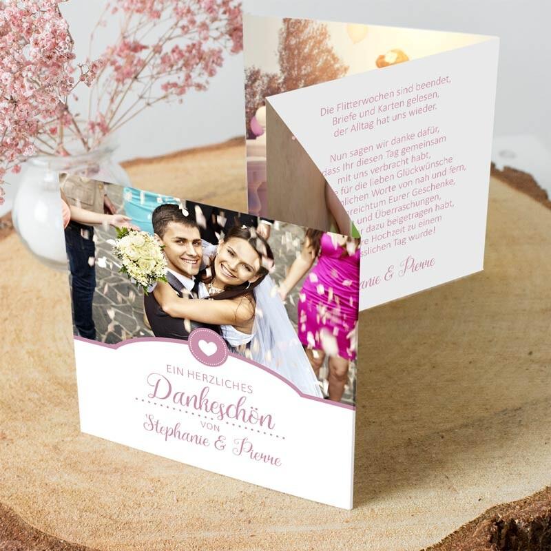dankeskarte hochzeit herzschlag in rosa hier bestellen. Black Bedroom Furniture Sets. Home Design Ideas