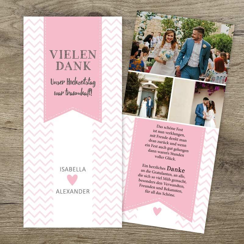 Danksagung Hochzeit Chevron Rosa