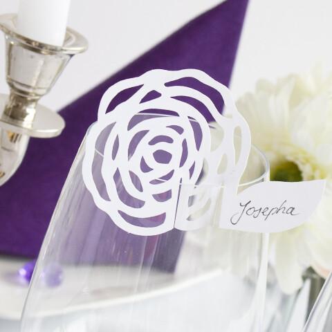 tischkarte hochzeit zarte rose wei 10st. Black Bedroom Furniture Sets. Home Design Ideas
