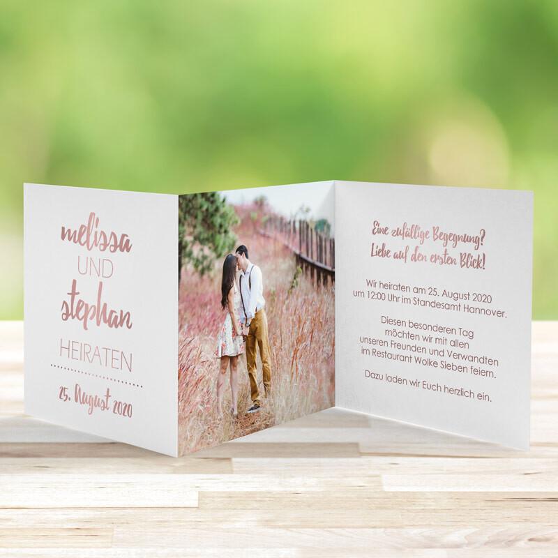 Einladungskarte Hochzeit Forever Love In Rosegold Weiss