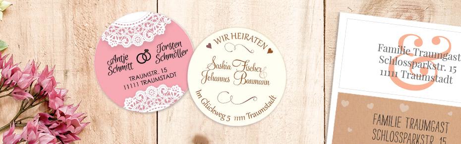 Adressaufkleber für die Hochzeitseinladungen