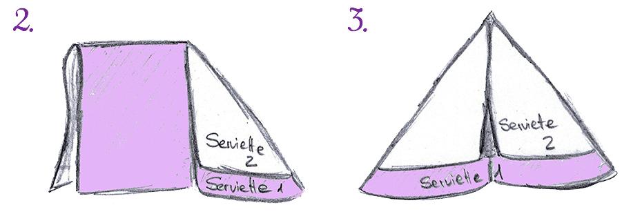 Servietten falten Tafelspitz - Schritte 2 und 3