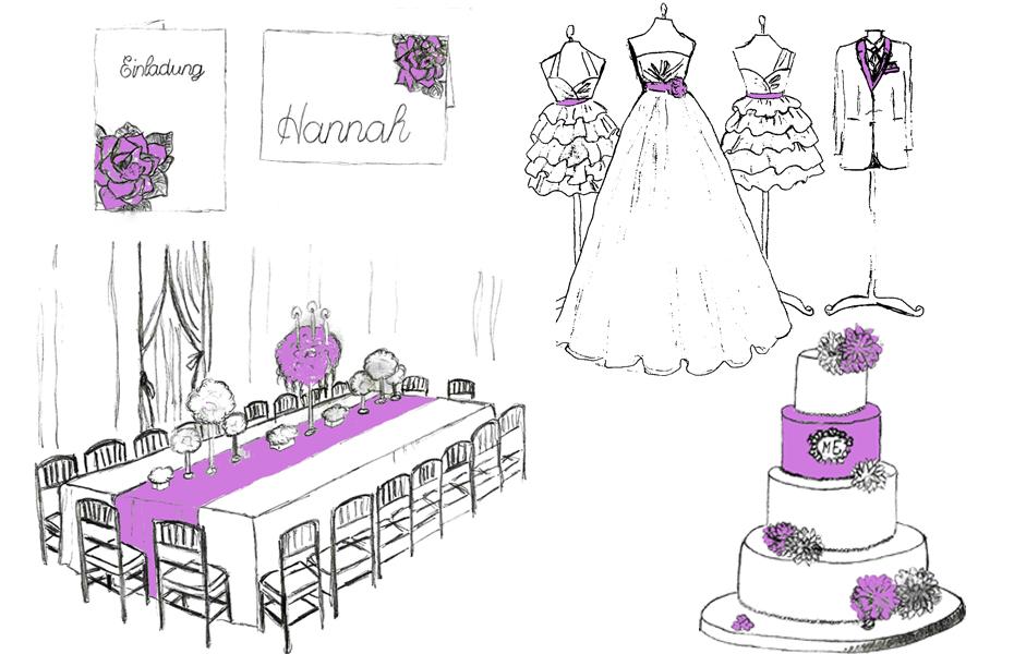 Beispiel Farbspiel Hochzeitsdeko