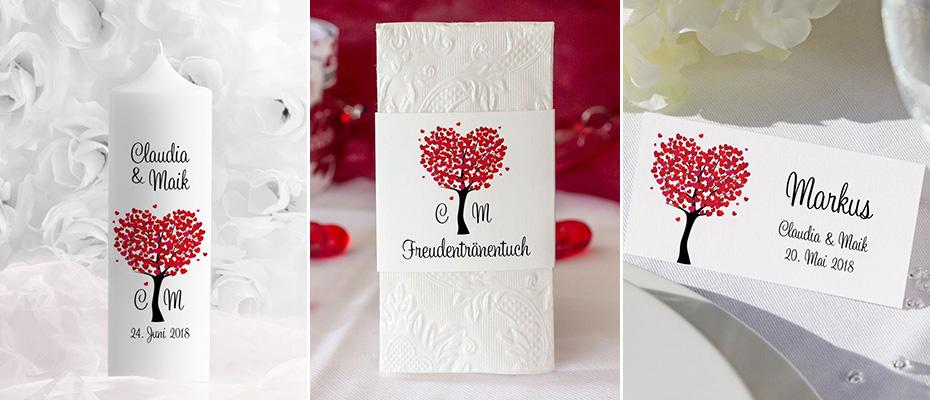 Serie Herzbaum rot