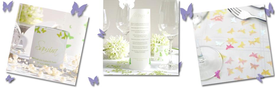 Hochzeitsdeko Schmetterlinge Tischkarten, Menükarten und Streudeko