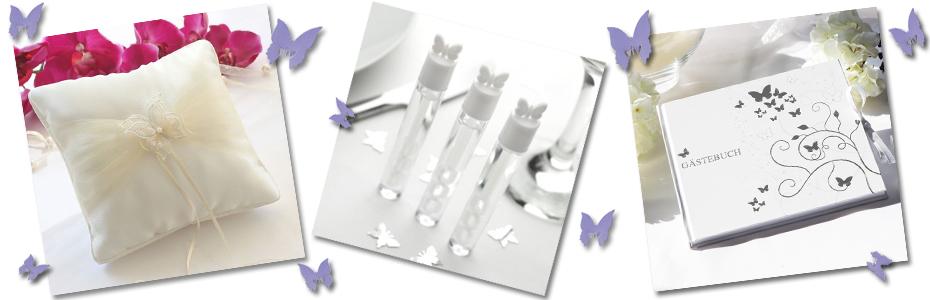 Schmetterlinge Hochzeit Ringkissen, Gästebuch und Seifenblasen
