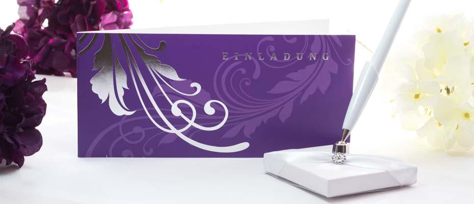 Einladungskarte Elegance lila