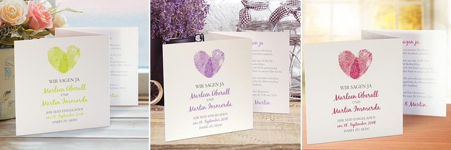 Einladungskarten mit Fingerabdrücken