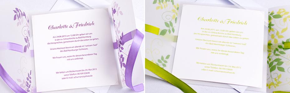 Einladungskarten Ranken lila und grün