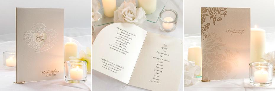 Kirchenhefte für die Hochzeit