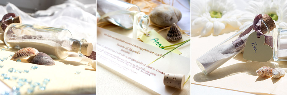 Flaschenpost als Hochzeitseinladung