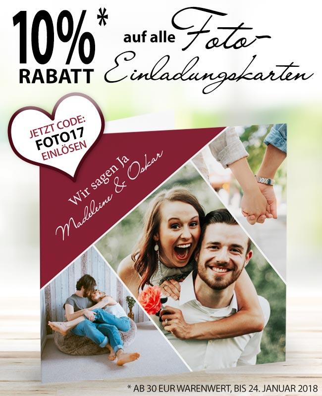 10% Rabatt auf Foto-Einladungskarten