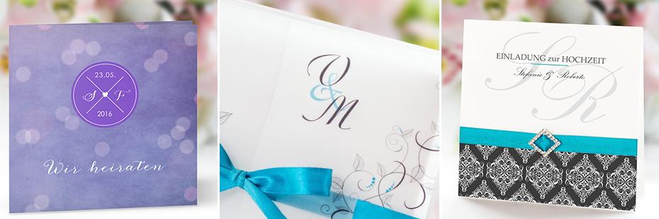 3 Einladungskarten mit Monogrammen